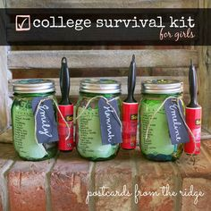 great graduation gift! Mason Jar College Survival Kit ~ Postcards from the Ridge #masonjar #balljar