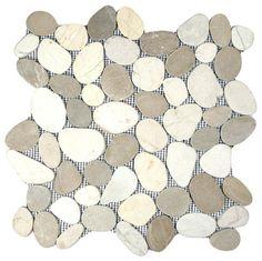 Sliced Tan  White Pebble Tile - contemporary - bathroom tile - Shower???