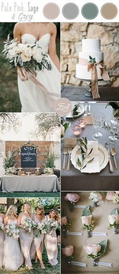 pale pink, sage and grey wedding color ideas