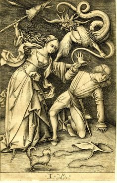 Israhel van Meckenem (1440 - 1503). Everyday scenes, engravings... Xanthippe,The Angry Wife of Socrates