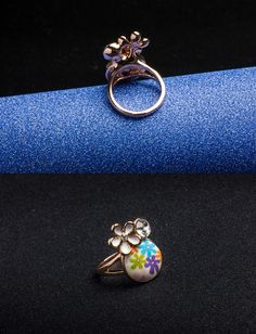 Ring - Rose Gold Plated, Polymer Clay, Flower Shaped, White