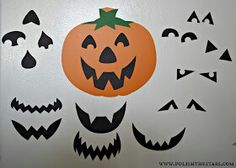 The idea for this MagneticInterchangeableJack O Lantern came fromFamily Fun. They didn't have a template though and a lady didn't really have time to cut out all of the pieces anyway so someone used her Silhouette to cut them out. They also suggest cutting them out of a sheet of self-adhesive magnetic paper which would be ridiculously expensive for something like this. Cut the facial pieces out of black cardstock, cut up some of those magnetic business cards, and glued them to the back…