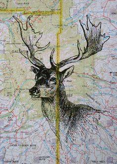 Deer head print on Montana map