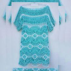 Crochê de Grampo - Saída de Praia Crochet Tunic Pattern, Crochet Blouse, Crochet Scarves, Crochet Tops, Broomstick Lace Crochet, Hairpin Lace Crochet, Lace Outfit, Lace Dress, Hairpin Lace Patterns