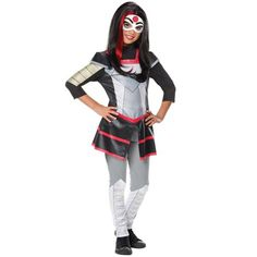 Kick it with your friends in this epic Katana costume inspired by the Web Series, DC Superhero Girls! Costume includes Katana top, pants and the Katana face mask. This costume would work excellently for any group Halloween party! Batman Costume For Girls, Diy Superhero Costume, Superhero Fancy Dress, Batman Costumes, Superhero Halloween, Halloween Fancy Dress, Halloween Cosplay, Girl Costumes, Halloween Costumes For Kids