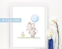 Elephant nursery art, Baby elephant prints, Safari animals nursery art, Watercolor elephant print