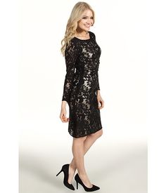 Tahari by ASL Fanny Sequin Lace Dress Black - 6pm.com