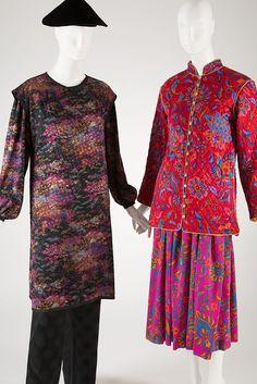 (left) Yves Saint Laurent ensemble, printed silk, 1977, France, 2006.35.2, Gift of Francine Gray(right) Saint Laurent Rive Gauche ensemble, printed fuschia silk satin and wool, 1976, France, 78.57.9, Gift of Ethell Scull