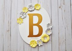 Oval Floral Frame Monogram Centerpiece Yellow and Gray Theme