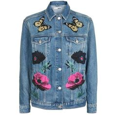 Topshop Moto Floral Applique Jacket (285 BRL) ❤ liked on Polyvore featuring outerwear, jackets, denim, floral jacket, embroidered denim jacket, floral embroidered jacket, topshop jackets and cowboy denim jacket