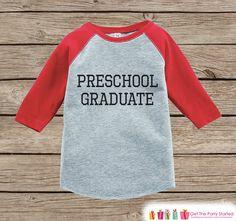 Preschool Graduate Outfit - Preschool Graduation - Red Raglan Kids Preschool Shirt - Last Day of School Outfit - Girls or Boys School Tshirt