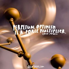 """""""Perpetual optimism is a force multiplier."""" ~ Colin Powell"""