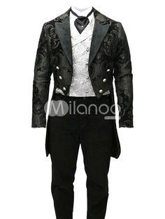 Mens full length velvet trim Steampunk Swallowtail coat - $60.99!    Halloween idea!!!