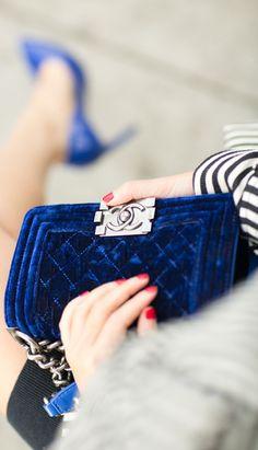 Chanel Royal Blue Quilted Velvet Satchel