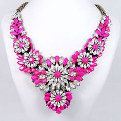 Victorian Style Neon Hot Pink Beads Flower by BellaJewelry4u, $46.99