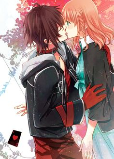 #Amnesia- Shin and Heroine, anime couple, anime kiss