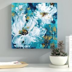 Latitude Run 'Flowers II' Vertical Print on Wrapped Canvas Acrylic Painting Flowers, Abstract Flowers, Acrylic Painting Canvas, Abstract Art, Flowers To Paint, Abstract Flower Paintings, Paintings Of Flowers, Flower Canvas Art, Blue Painting