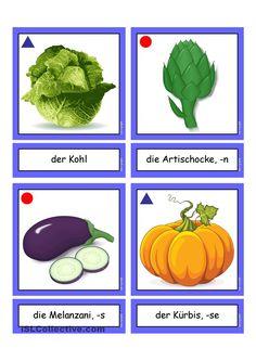 German Language Learning, German Words, Learn German, Plant Leaves, Kindergarten, About Me Blog, Healthy Eating, Teaching, Vegetables