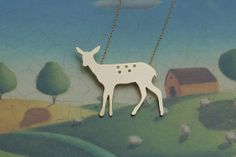 Bambi Deer Necklace in Gold Woodland Charm