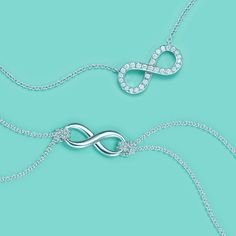 Tiffany Infinity pendants, from top: platinum with diamonds and sterling silver. #TiffanyPinterest