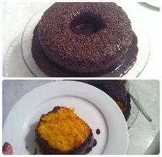 Receita de bolo de cenoura com calda (sem glúten e sem leite) http://www.maededois.com/receita-de-bolo-de-cenoura-com-calda-sem-gluten-e-sem-leite/