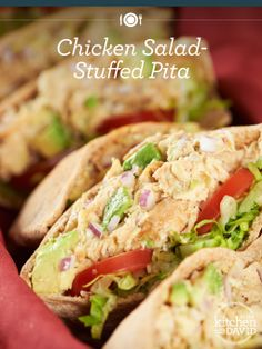 WARNING: Co-workers may be jealous of your delicious Chicken-Salad Stuffed Pitas lunch! Lunch Snacks, Healthy Snacks, Healthy Eating, Healthy Recipes, Healthy Wraps, Pita Recipes, Chicken Recipes, Cooking Recipes, Turkey Recipes