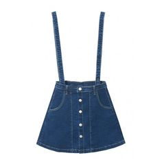 A-Line Button Down Plain Double Pockets Denim Overall Skirt (110 CNY) ❤ liked on Polyvore featuring skirts, knee length a line skirt, blue denim skirt, blue skirt, blue a line skirt and denim skirt