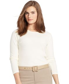 Lauren Ralph Lauren Plus Size Faux-Suede- Trim Ribbed Shirt - Plus Sizes - Macy's