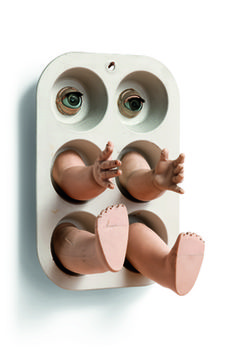 Irving Harper / Sculpture with muffin tin and doll parts