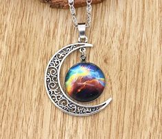 Crescent Moon and Galaxy Necklace (12 different types)  #jewelry #pendant #necklace #casual #moon