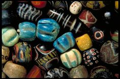 Viking age glass beads, Uppland, Sweden.
