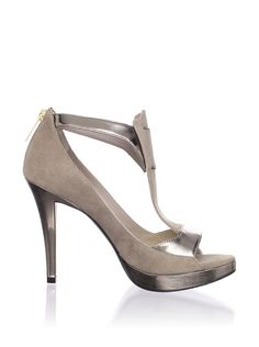 Sirak Dante T-Strap Sandal.  Soft suede upper, metallic leather accents, T-strap styling, heel zip, open toe.