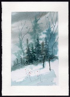 Hand painted Watercolor Christmas Card by mjonesart on Etsy, $15.00