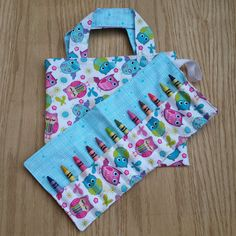 Tote Bag and Crayon Roll - Owls - Gift Idea - Birthday - Handmade - Flower girl - Valentine's - Easter - Spring time - Quiet time activity by Sewing4Babies on Etsy