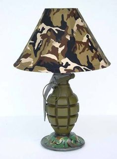 64 Stunning Superbly Unique Lamps To Decorate Your Interiors Room lamps # bedroom lamps # living room accessoris accessoris Decor lamps lamps The post 64 Stunning Superbly Unique Lamps To Decorate Your Interiors appeared first on Lampe ideen. Boys Army Bedroom, Military Bedroom, Army Room, Chambre Nolan, Camo Rooms, Man Room, Bedroom Lamps, Bedroom Ideas, Unique Lamps