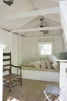 Decorator Tricia Foley's Signature White Interiors Attic Rooms, Attic Spaces, Tiny Spaces, Beach Cottage Style, Beach House Decor, Home Decor, Lakeside Cottage, My Living Room, Living Spaces