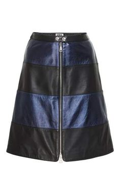 This metallic **Sonia by Sonia Rykiel** skirt is rendered in lamb leather and features a fitted shape with a front zipper detail and bold horizontal stripes.