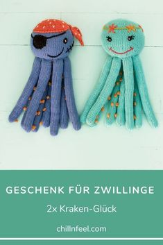 Geschenk für Zwillinge, Frühchen und Geschwister: 2x Kuschel-Oktopus aus Biobaumwolle (verschiedene Farbkombinationen). Chill n Feel // Geschenk für Zwillinge // Frühchen // Geschwister // Oktopusse #chillnfeel #geschenkfürzwillinge #frühchen #geschwister #oktopusse Babys, Chill, Crochet Hats, Presents, Handmade, Gifts For Children, Baby Favors, Siblings, Parents