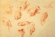 Antoine Watteau (1684-1721), sheet of hand studies, red chalk.