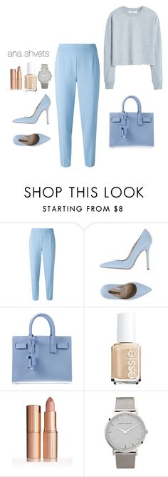 """#blue"" by anashvets on Polyvore featuring мода, Agnona, Norma J.Baker, Yves Saint Laurent, Essie, Larsson & Jennings и MANGO"