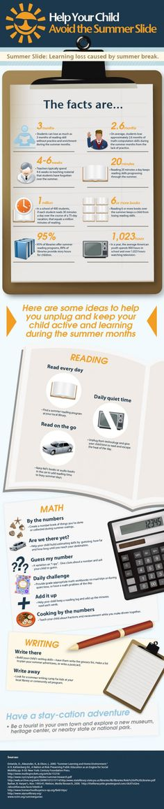 """Read about the """"summer slide"""" through the infographic at the link below and learn ways to prevent learning loss for your child during the summer months."""