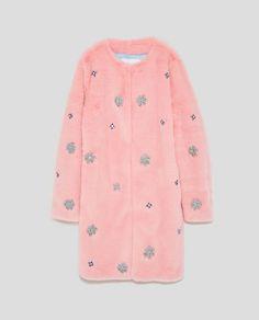 #pink BEJEWELLED FAUX FUR COAT from Zara