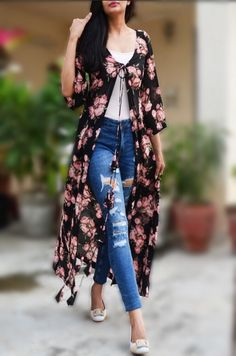 Buy White Printed Long Shrug by Colorauction - Online shopping for Shrugs in India Western Dresses, Western Outfits, Indian Dresses, Indian Outfits, Kurta Designs, Blouse Designs, Shrug For Dresses, I Dress, Long Dresses