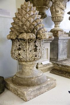 AQE-FIN1760 George III Limestone Pineapple Finials The significant antique pineapple finials from England, circa 1760 are $18,500pr.  In excellent condition. http://www.negarden.com/Finials/aqe-fin1760