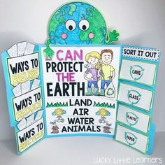 This Earth Day lapbook is awesome! It covers the 3 R's: reduce, reuse, and recycle. It also covers how to take care of the planet and how to sort different recyclables. Earth Day Projects, Earth Day Crafts, School Projects, Projects For Kids, Earth Day Activities, Science Activities, Science Projects, Earth Day Posters, Recycling