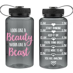 Cute Gift for Friend Motivational Water Bottle Look Like a Beauty Work... ($20) ❤ liked on Polyvore featuring home, kitchen & dining, drink & barware, drinkware, grey, home & living, water bottles & vacuum flasks, personalized tote bags, inspirational tote bags and gray tote bag