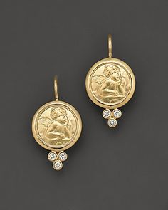 Temple St. Clair 18K Yellow Gold Angel Earrings with Diamonds | Bloomingdale's