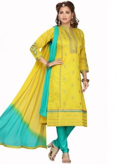 #yellow #embroidered #readymade #salwar #kameez #traditional #indian #salwar #suit #indianfashion #party #wear #collection #eid #2021 #ootd Readymade Salwar Kameez, Churidar Suits, Turquoise Blue Color, Chinese Collar, Salwar Suits Online, Ethnic Looks, Fashion Outfits, Womens Fashion, Style Guides