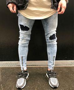 Men Ankle Zipper Big Hole Denim Skinny Jeans //Price: $28.99 & FREE Shipping //