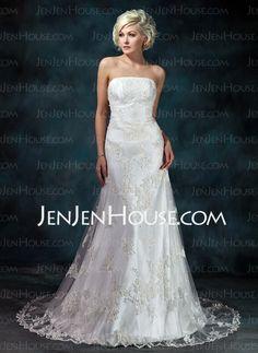 Wedding Dresses - $239.99 - A-Line/Princess Strapless Court Train Satin Tulle Wedding Dress With Lace Beadwork (002000368) http://jenjenhouse.com/A-Line-Princess-Strapless-Court-Train-Satin-Tulle-Wedding-Dresses-With-Lace-Beadwork-002000368-g368/?utm_source=crtrem_campaign=crtrem_US_20898